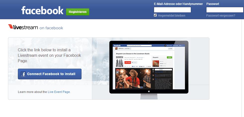 Screenshot livestream auf Facebook