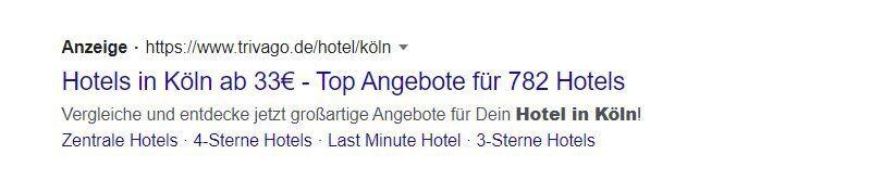 Konventionelle Hotelanzeige bei Google